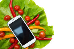 Vegetables and a Smartphone Royalty Free Stock Photo