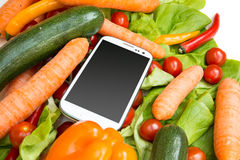 Vegetables and a Smartphone Stock Photo