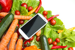 Vegetables and a Smartphone Stock Images
