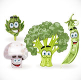 Vegetables smiles - mushroom, peas, broccoli... Royalty Free Stock Images