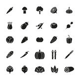 Vegetables Solid Vector Icon Set Royalty Free Stock Images