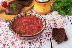 Vegetables soup from beetroot Royalty Free Stock Images
