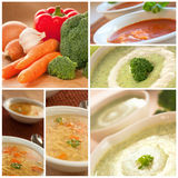 Vegetables soup collage Stock Photos