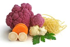 Vegetables soup ingredients. Various vegetables and paste to make a soup royalty free stock images