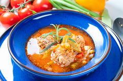 Vegetables soup with meatball Royalty Free Stock Photography