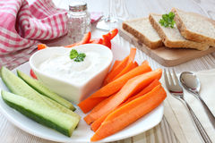 Vegetables with sour cream Royalty Free Stock Images