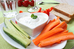 Vegetables with sour cream Stock Photo