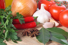 Vegetables and spice Stock Photography
