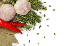 Vegetables and spices Stock Photos