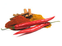 Vegetables and spices. Some fresh and dried spices Stock Photo