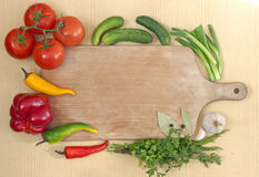 Vegetables and spices border Stock Photo