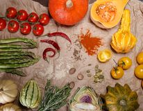Vegetables and spices. Composition with raw vegetables and spices Stock Image