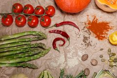 Vegetables and spices. Composition with raw vegetables and spices Royalty Free Stock Images