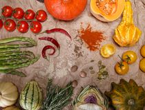 Vegetables and spices. Composition with raw vegetables and spices Royalty Free Stock Photo