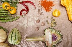 Vegetables and spices. Composition with raw vegetables and spices Royalty Free Stock Image