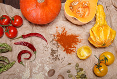 Vegetables and spices. Composition with raw vegetables and spices Stock Photos