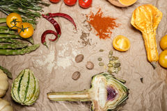 Vegetables and spices. Composition with raw vegetables and spices Stock Photo