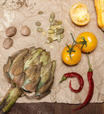 Vegetables and spices. Composition with raw vegetables and spices Royalty Free Stock Photos