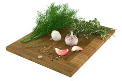 Vegetables and spices on the cutting board Royalty Free Stock Photos