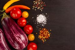 Vegetables and spices on dark board royalty free stock photos