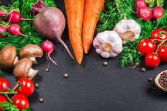 Vegetables and spices Stock Photography
