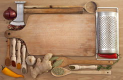 Vegetables and spices in kitchen Stock Photography