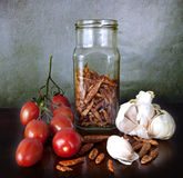 Vegetables and spices on the kitchen table Stock Image