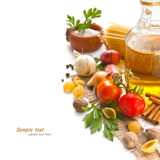 Vegetables, spices and pasta Royalty Free Stock Image