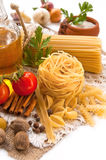 Vegetables, spices, pasta Royalty Free Stock Images