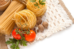 A vegetables, spices and pasta Stock Image