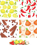 Vegetables and spices  seamless pattern. Vegetables and spices vector seamless pattern Stock Photos
