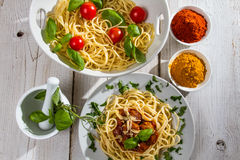 Vegetables, spices and spaghetti Stock Photography