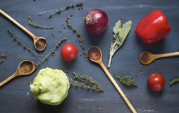 Vegetables, spices, wooden spoons, Stock Photo