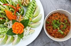 Vegetables and spicy paste Royalty Free Stock Photo
