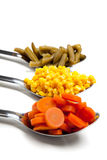 Vegetables on spoons Stock Image