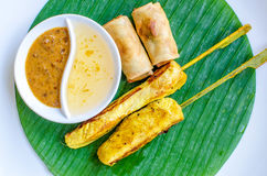 Vegetables spring roll and chicken satay Stock Image