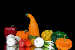 Vegetables. Squashes,peppers,tomatoes,green onions and mushrooms Royalty Free Stock Photos