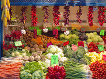 Vegetables stall. In the market hall (photo taken in Budapest, Hungary Stock Image