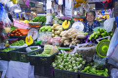 Vegetables stall at Banzaan Market in Patong. Banzaan Market is a covered market in Patong, Phuket, Thailand royalty free stock photography