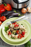 Vegetables, steamed with chicken and green lentils Stock Image