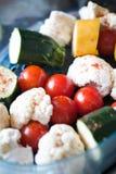 Vegetables in steamer Stock Photo