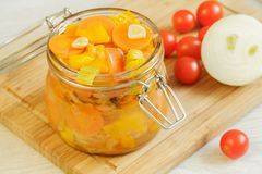 Vegetables stew in the jar Stock Image
