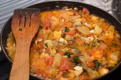 Vegetables stews. (on a frying pan Royalty Free Stock Photos