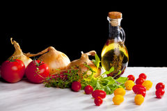 Vegetables still life. With olive oil Royalty Free Stock Photo