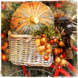 Vegetables still life. Pumpkins on market - artisitic still life in retro style Royalty Free Stock Photos