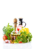 Vegetables still life with olive oil Royalty Free Stock Image