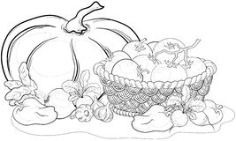 Vegetables, Still Life, Outline Stock Photo
