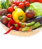 Vegetables still life on the white background Stock Images