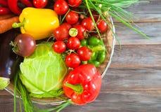 Vegetables still life on wooden background Stock Image