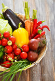 Vegetables still life on wooden background Stock Images